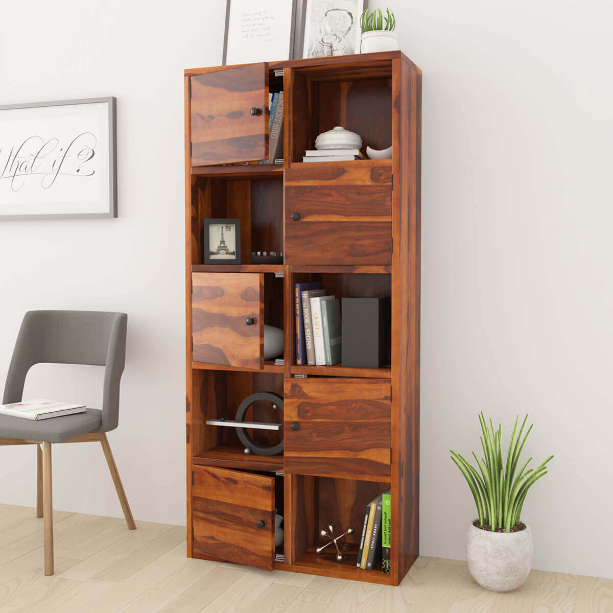 Prich Rustic Sheesham Solid Wood Bookcase