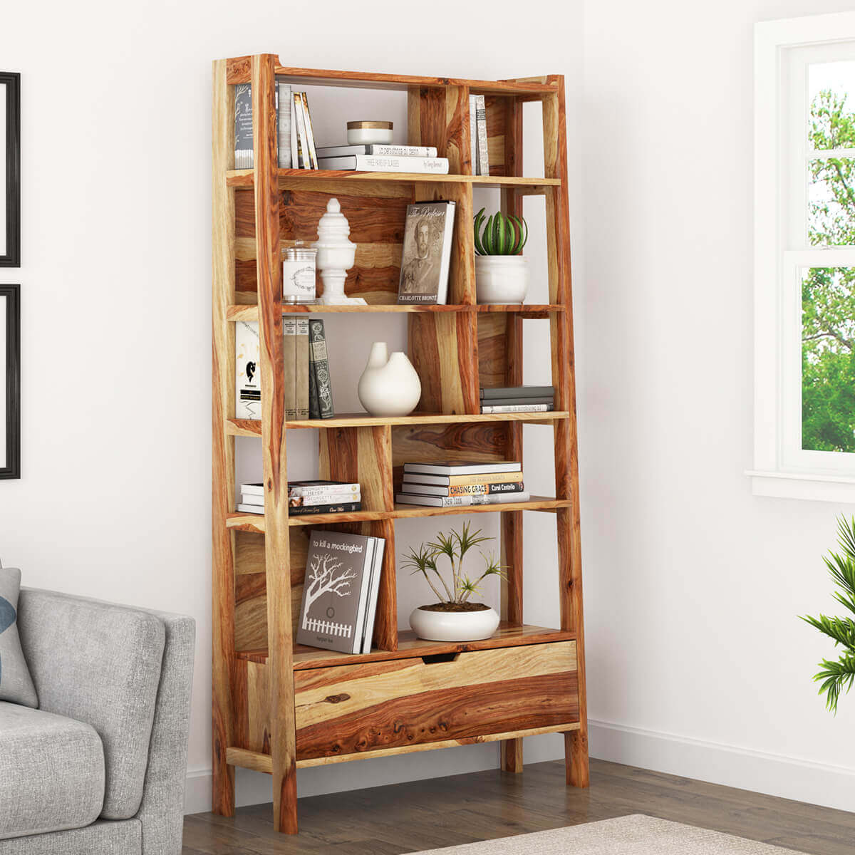 Leani Rustic Sheesham Solid Wood Open Ladder Bookshelf