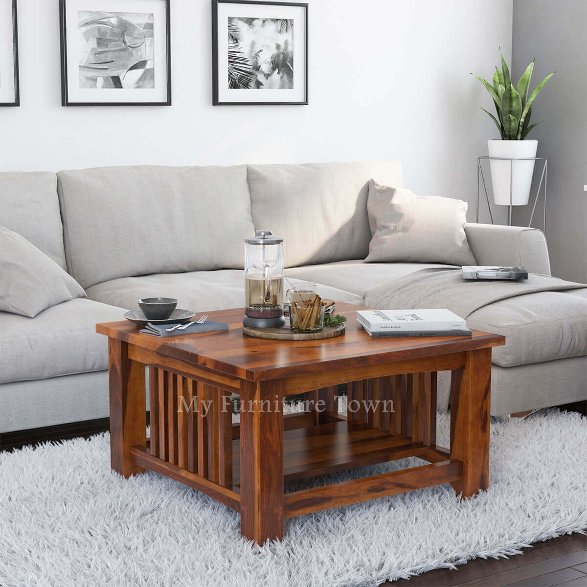 Square Mission Rustic Sheesham Solid Wood Coffee Table ...
