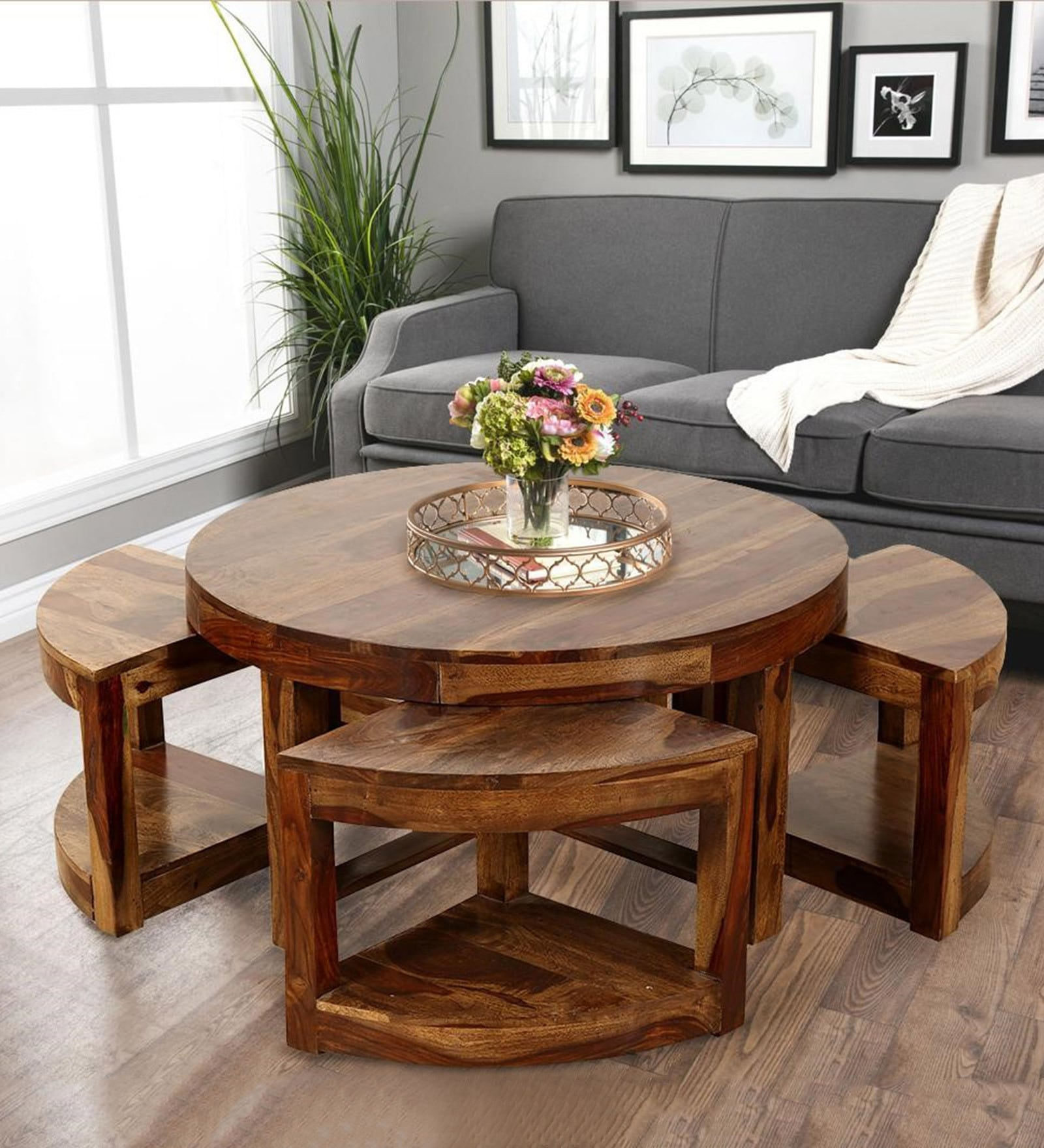 - Round Sheesham Solid Wood Coffee Table With 4 Stools Finish By MFT