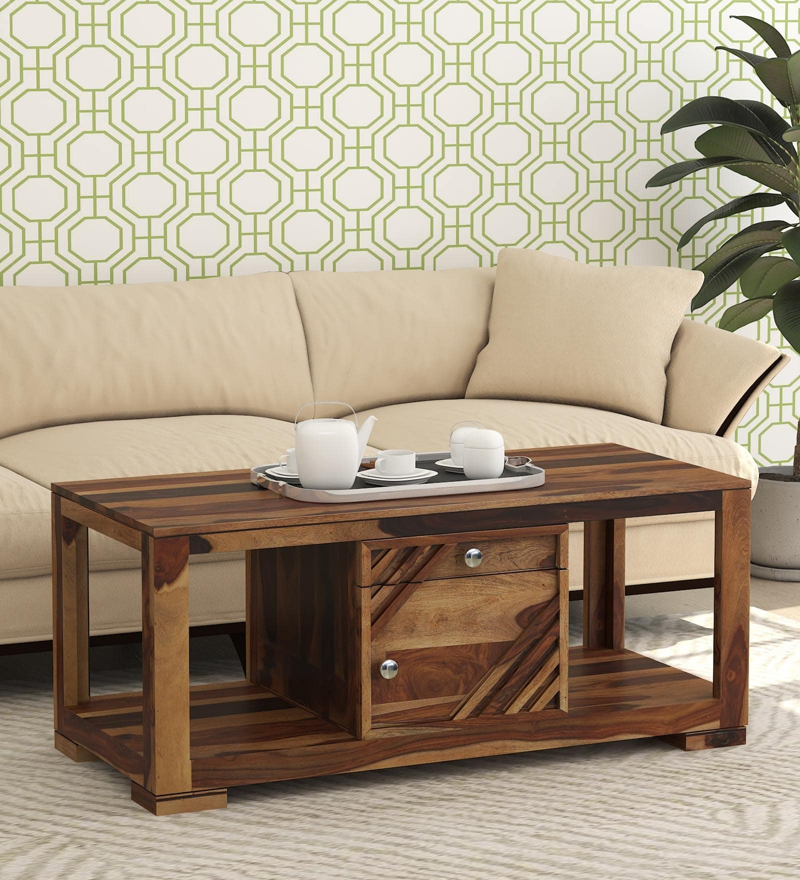Sheesham Solid Wood Coffee Table With Storage In Rustic Teak Finish By Mft My Furniture Town