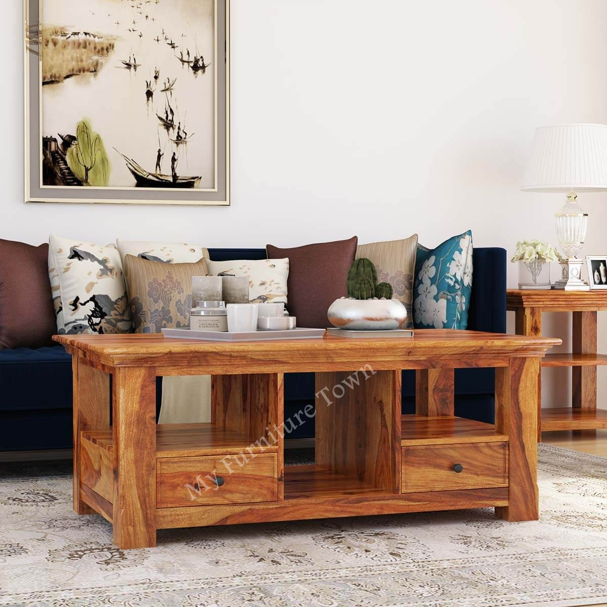 Century Modern Sheesham Solid Wood Rustic Coffee Table