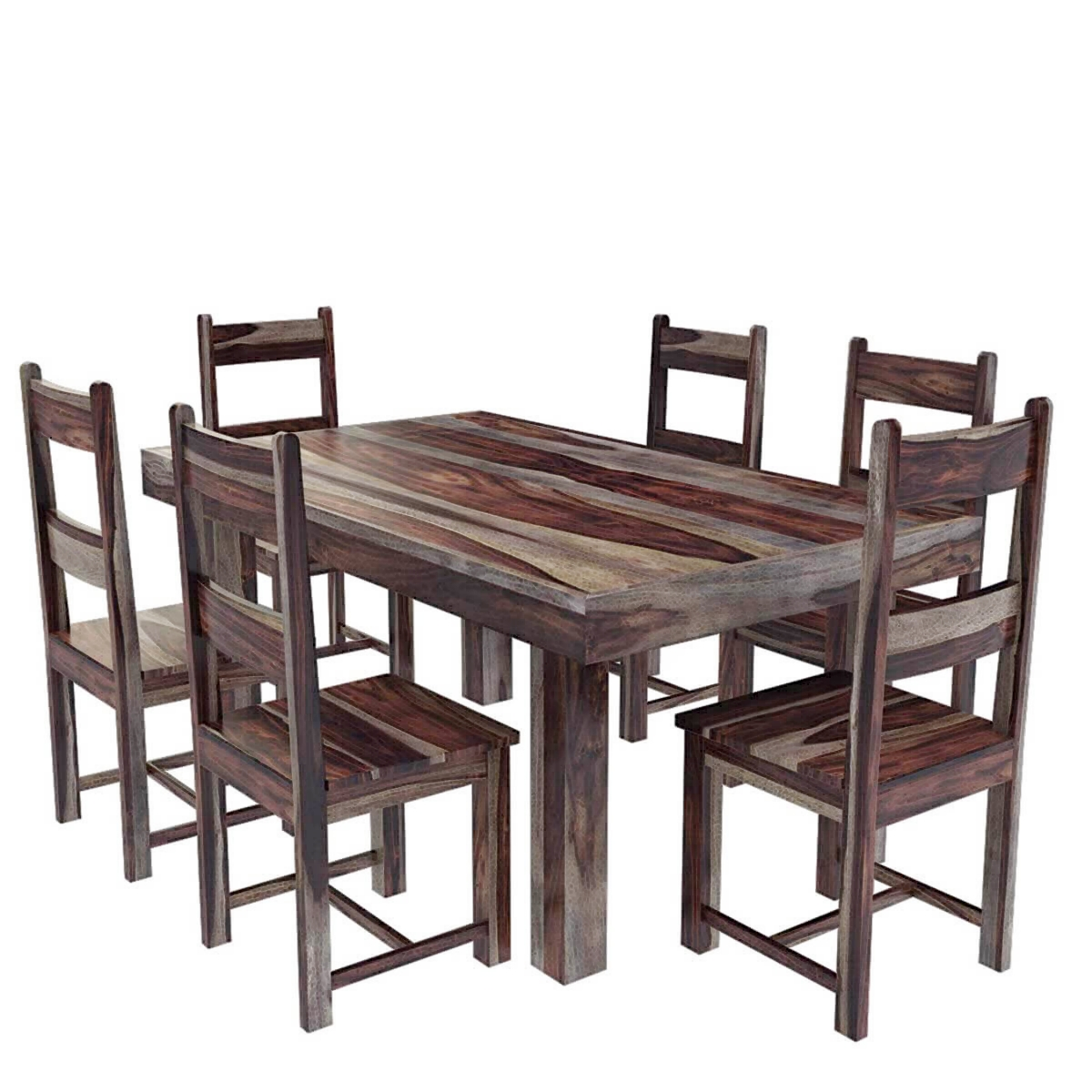 Casual Modern Sheesham Solid Wood Dining Table And Chair Set