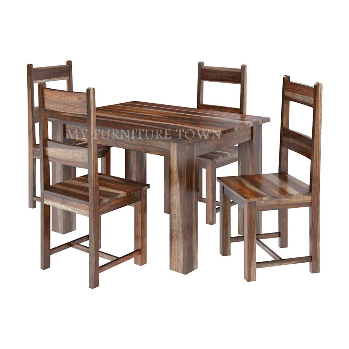 Alaba Modern Sheesham Solid Wood Dining Table and Chair Set