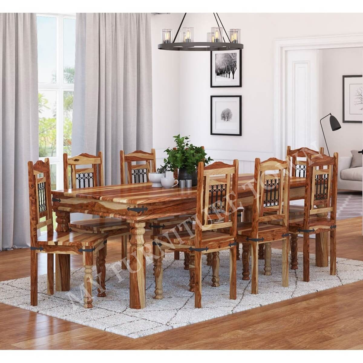 Sekhawati Classic Sheesham Solid Wood Rustic 8 Seater Dining Set My Furniture Town