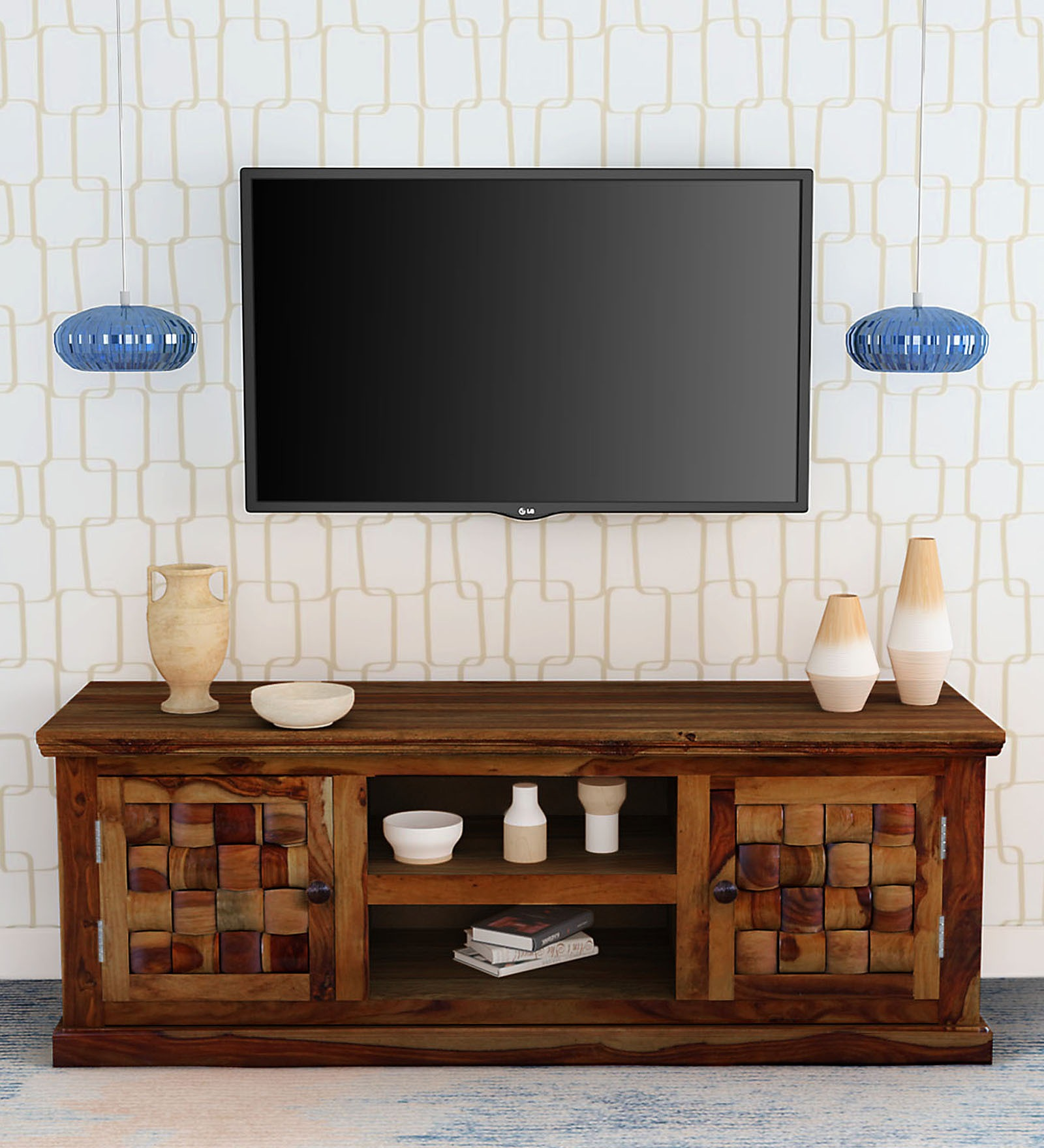 Niwar Design Solid Wood Tv Unit In Teak