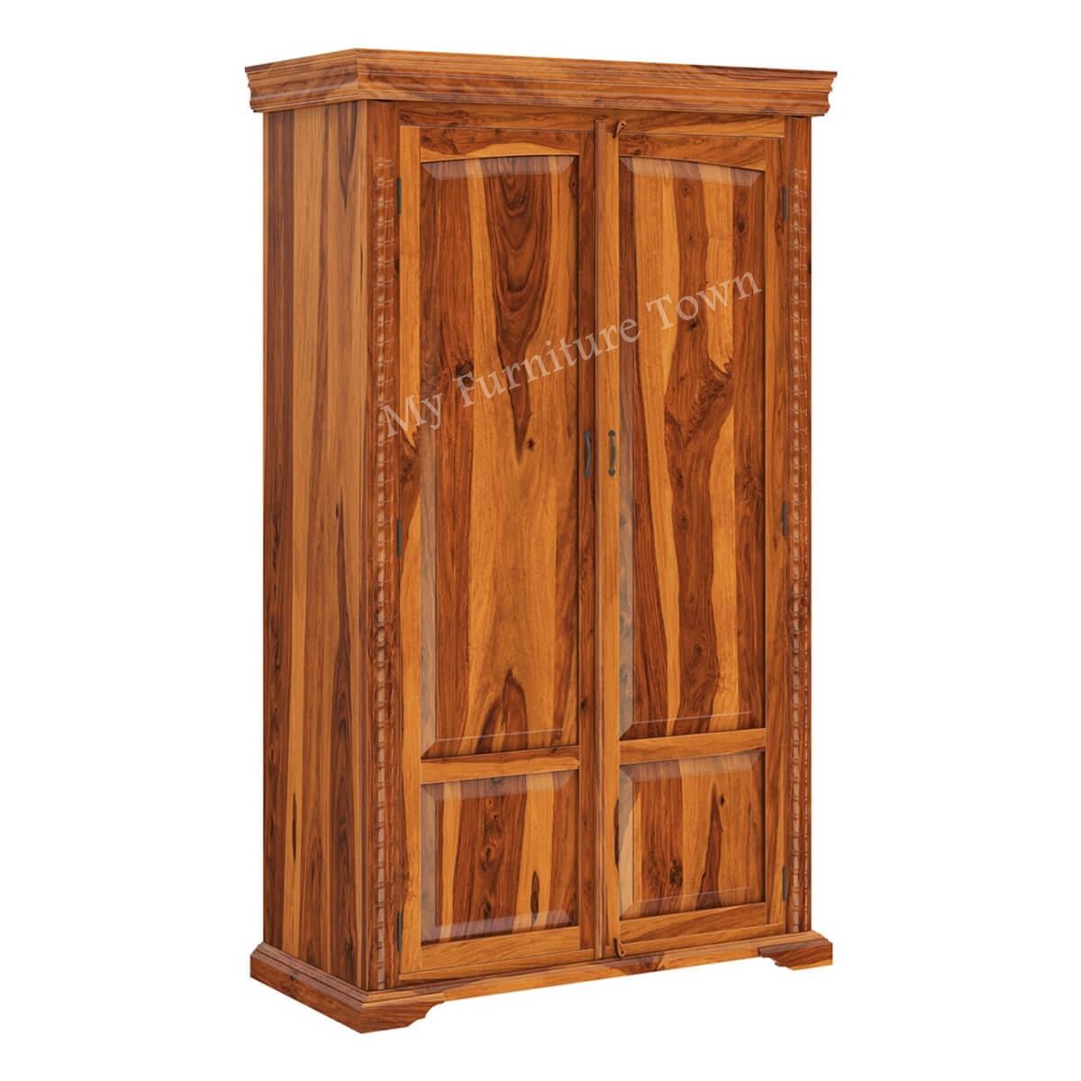 best website 52304 36630 Empi Bedroom Rustic Sheesham Solid Wood Wardrobe