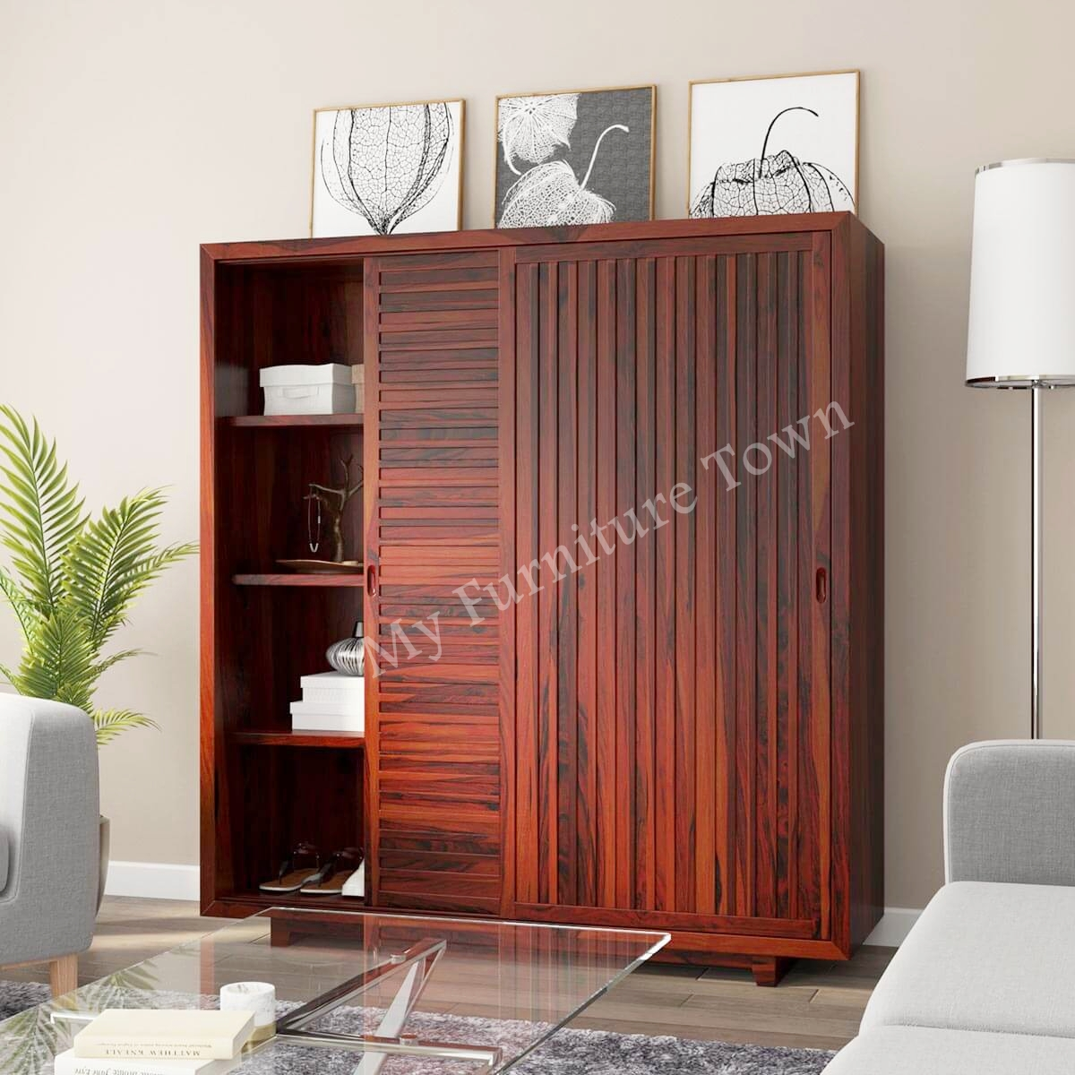 Stoni Large Rustic Sheesham Solid Wood Sliding Door Wardrobe With Shelves