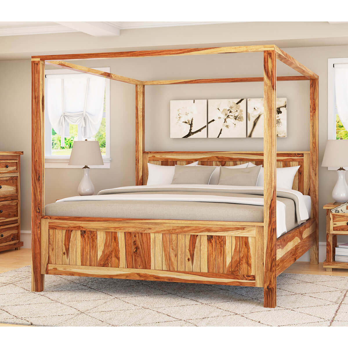 Levik Rustic Sheesham Solid Wood 4 Poster Bed My Furniture Town