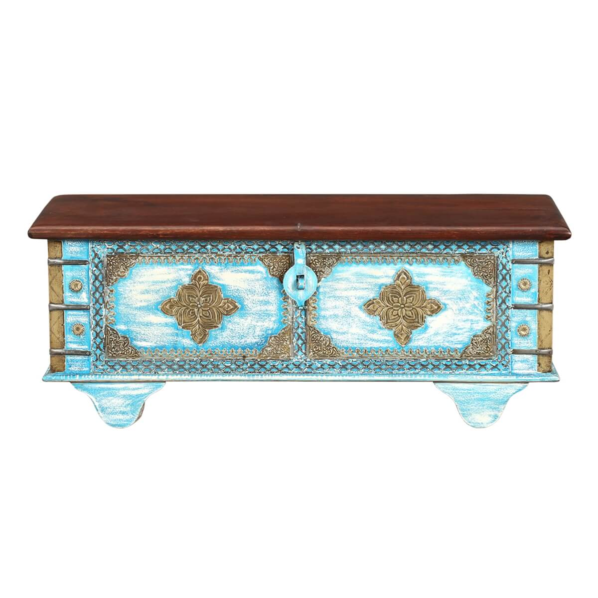 Distress Blue Double Diamond Solid Wood Coffee Table Trunk My