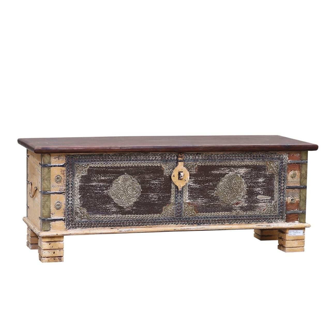 Distressed Reclaimed Solid Wood Accent Storage Coffee Table Trunk